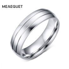 Meaeguet 6mm Wide Classic 2-Row Stainless Steel Rings Simple Design Men Wedding Rings USA Size 6-13(China)