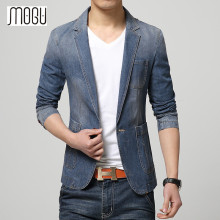 MOGU New Arrival Denim Blazer Men Cotton One Button Mens Blazer Jacket Blue Jeans Jacket Men Blazer Slim Fit