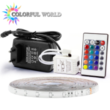 5M LED strip 3528 60pcs/m 5M Strip LED Light RGB DC12V Flexible 24KEY IR Remote Controller 12V 2A Power Adapter led strip kit