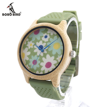 BOBO BIRD B04 Mens Wooden Watch Floral Prints Dial Womens Bamboo Quartz Watches with Green Silicon Band in Gift Box kol saati