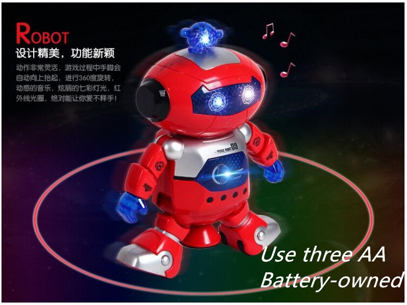 Childrens electronic toy robot dancing robot 360 rotating dancers dazzle with light and music girls and boys free door gift<br><br>Aliexpress