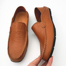 Buy 100% Genuine Leather Plus Size Men Loafers Flats Heel Slip Comfortable Driving Shoes 2017 New Fashion Casual Flats Size 37-46 for $18.45 in AliExpress store