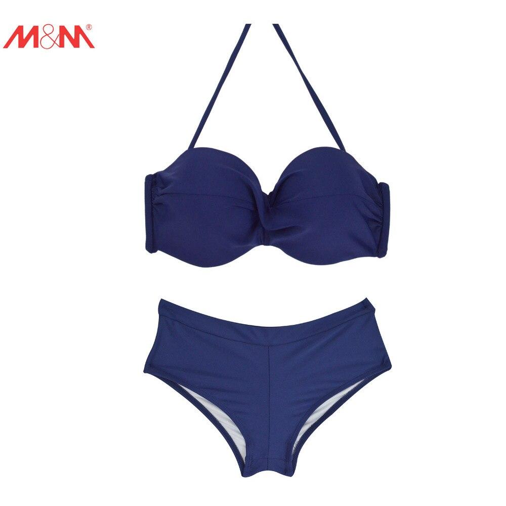 M&amp;M Women Push Up Sexy Bikini Set 2017 Summer Brazilian Swimwear Pad Halter Bikini Swimsuit Bandeau Patchwork Top Ruched Bottom<br><br>Aliexpress