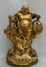 "Collectible bronze S1992 18"" Chinese Brass Wealth stand Golden Toad Happy Laugh Maitreya Buddha Statue (B0328)"