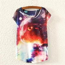 Galaxy Cat pattern t-shirt women novelty printed top tees 2015 new design t shirt girls shrits low price discount sale