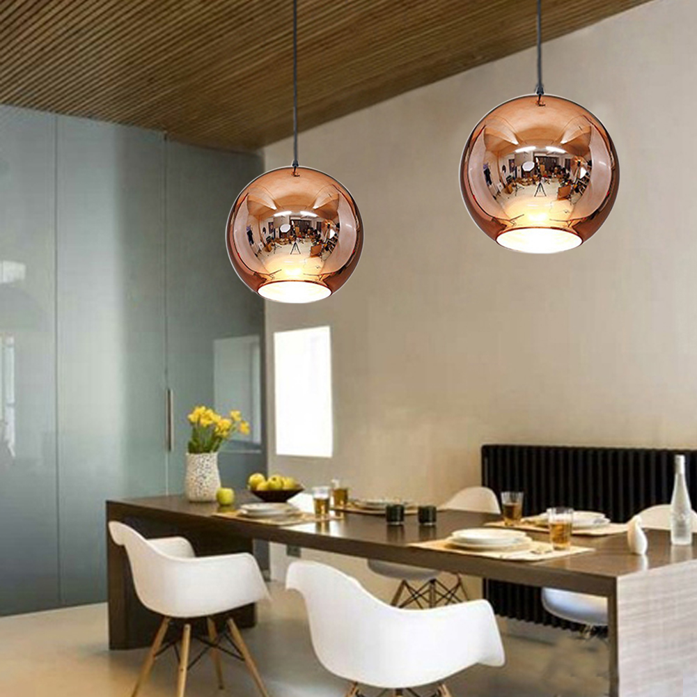 HGhomeart Simple modern copper plating glass chandelier dining room bar coffee chandelier LED double - hole glass chandelier<br>