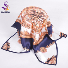 Khaki Blue Silk Square Scarves For Spring Autumn Summer Ladies Air-condition Coin Flower Silk Neck Scarf Thicken 55*55cm