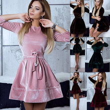 Buy 2018 Spring Newly Style Women Velvet Dress O-Neck Half Sleeve Line Slim Dress Sexy Casual Mini Velour Dress Vestidos for $9.98 in AliExpress store