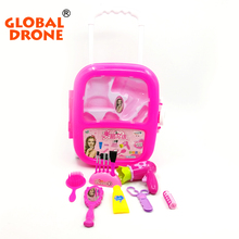 Global Drone 12pcs Dressing Table Toys Girl Pretend Play Makeup Tool Kit Box Simulation Cosmetic Case Play House Toys(China)