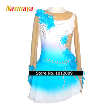 Customized Costume Ice Skating Figure Skating Dress Gymnastics Adult Child Girl Show Skirt Competition Rhinestone Blue Flower(China)