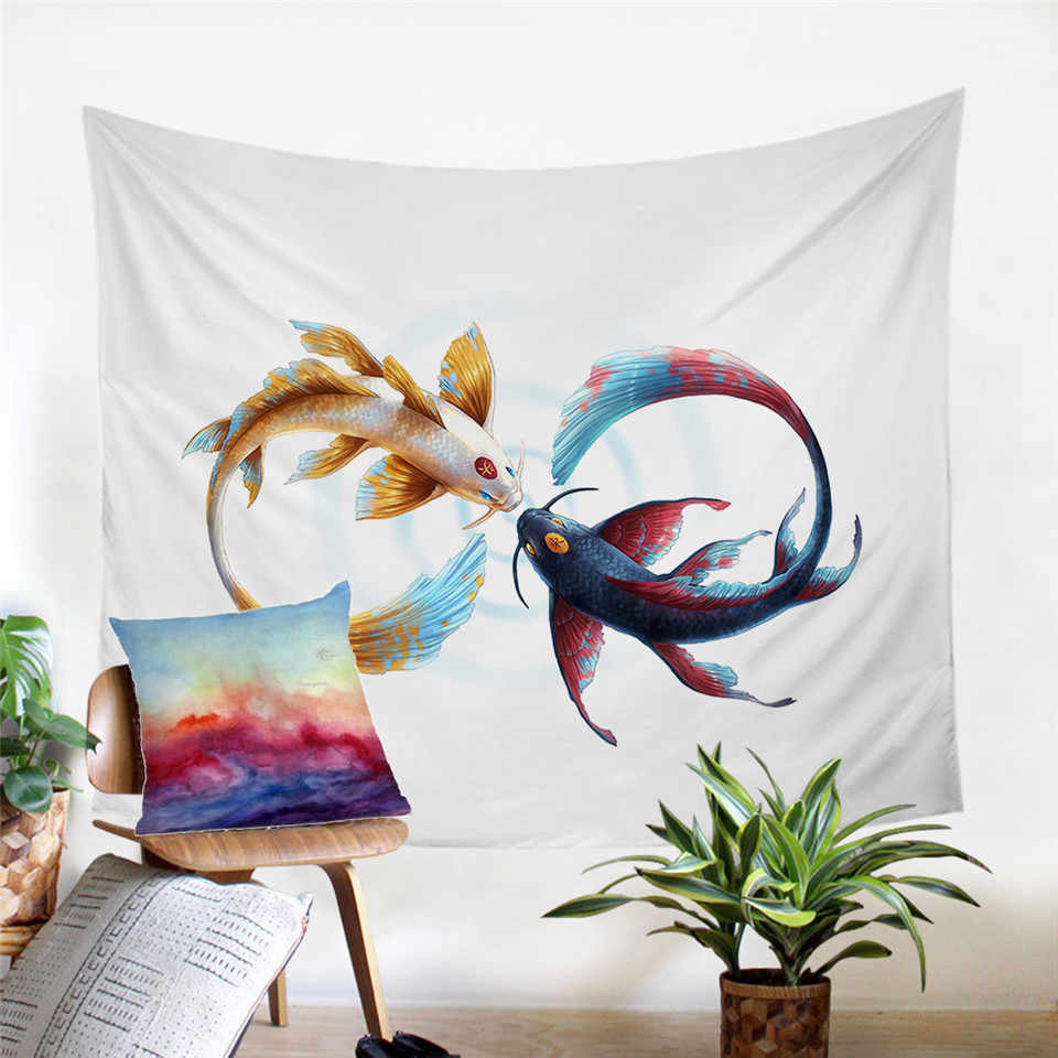Eternal Bond by  Tapestry Cryprinus Carp Wall Hanging Animal Printed Bed Sheets Auspiciou  Decorative Tapestry