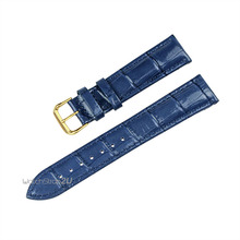 Blue Green Pink Alligator Crocodile Grain Genuine Leather Watch Band Strap Gold Pin Buckle 18mm 20mm 22mm