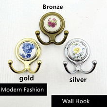 Personality Creative fashion Retro wall decoarion hooks Rural ceramic clothes hooks Gold Silver Bronze beathroom two hooks(China)