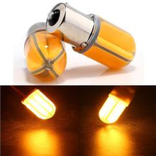 2pcs 1156PY 7507 PY21W BAU15S COB 48SMD 8 SILICA 12V 24V Led Bulb Front Signals Turn Auto Light Led External Lamp Amber Yellow(China)