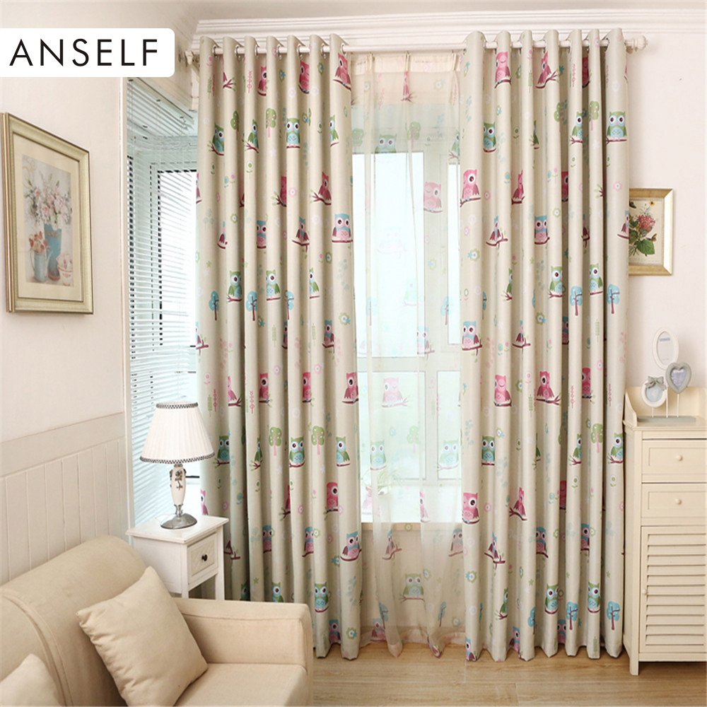 Anself 3Pcs/set Curtains Cute Owl Printed Curtainsfor Livingroom 2pcs Thick  Window Screening With 1pcs