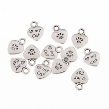 10pcs 11*9mm word my cat heart tibetan silver cat footprints alloy charms for bracelets making DIY