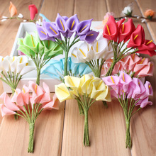 144PCS/ Bag New Mulberry Calla Lily Artificial Flower Bouquet Simulation PE Flowers For Diy Scrapbooking