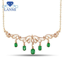 Solid 18K Yellow Gold Natural Emerald Diamond Pendant Necklace For Women Wedding Party Gemstone Jewelry(China)