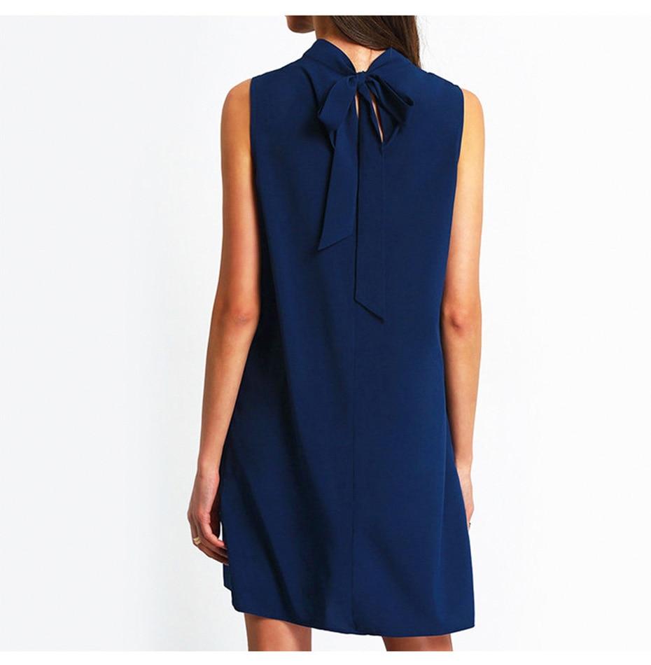 2018 summer dress women Chiffon office Dress elegant V neck Bow Sleeveless Casual dresses solid a line ladies blue Mini vestidos 6