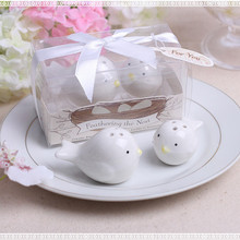 Wholesale 30sets/lot Wedding favors gifts party supplier white love bird ceramics salt and pepper shaker