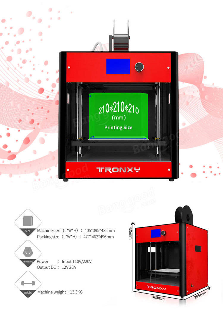 Tronxy<ALIMT >®</ALIMT> C5 FDM Full Assembled Metal 3D Printer 210*210*210mm Printing Size With Dual Fans/Dual Z Lead Screws/Knob Button LCD Screen /Support Heatbed