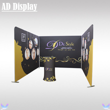 Tradeshow 10ft Width Tension Fabric Pop Up Banner Display Wall With One Side Printing And Portable Advertising Podium Oval Table