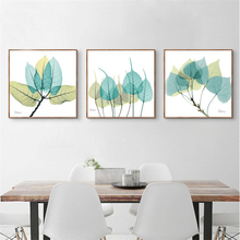 Blue Yellow Component Leaves Canvas Mural Poster White Based Nordic Art Drawing Pretty Wall Picture Ornaments for Study Corridor