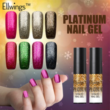 Ellwings 1pcs Shining Platinum Nail Gel Lacquer 12 Glitter Colors UV Gel Nail Polish Soak Off Fingernail Gel Varnish