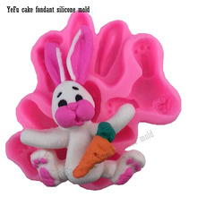 Jialian fondant cake silicone moulds Rabbit animal carrot soap decorating tools Clay Salt carving pops FT-0781(China)