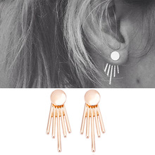 IPARAM fashion simple earrings smooth side by side vertical turn round stud earrings 2017 new products(China)