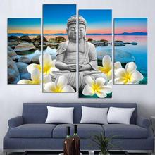 4Pcs Unframed Buddha Sea View Painting Canvas Wall Spray Painting Modern Decorative Canvas Art Work Prints On The Living Room