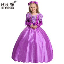 Gloves + Garland Princess Girl Dress Costumes Belt Kids Frock Designs Dresses Costume Girls Christmas Birthday Party Cosplay(China)