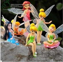 6pcs/Set Halloween Kids Gift Tinkerbell Dolls Flying Flower Fairy Children Animation Educational Cartoon Toys BabyToy(China)