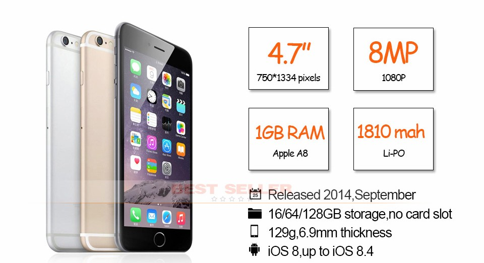 Original Apple iPhone 6 4G LTE Smartphones High Quality 16GB/64GB/128GB ROM 4.7 inch Touchsceen SIM Free Mobile Phone Cheap