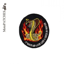 Flames Cobra Embroidery Patch Motorcycle Harley Biker Iron On Patches Vest DIY Badges