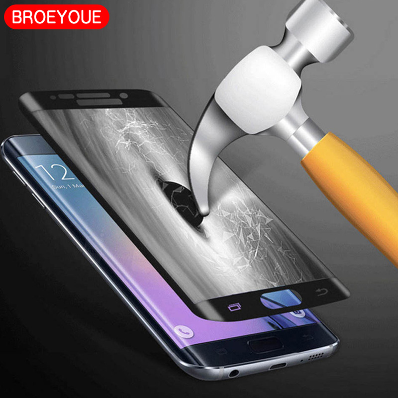 BROEYOUE Tempered Glass For Samsung Galaxy S6 S7 S8 S9 Edge Plus 3D Full Coverage Screen Protector Flim Cover For Samsung Note 8(China)