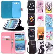 New Arrival Wallet Design with Card Slots Leather Cell Phone Flip Cases Cover For Samsung Galaxy S3 S III 3 GT-i9300 i9300 Case(China)