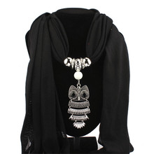 New Women Necklace Scarves Owl Pendant Jewelry Tassels Girl Lady Polyester Cotton Scarf Shawl Wrap