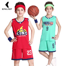 Boys Basketball Jersey Student Team Training Clothing Uniform Sports Vest Shirt and Short Pants High Quality Breathable Custom