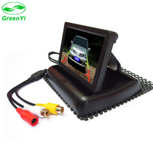 "GreenYi 4.3"" Foldable TFT Color LCD 4.3 Inch Car Foldable Monitor Reverse Rearview For Camera DVD VCR DC12V 2 Video Input"