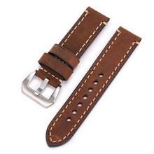 Pbcode 20 22 24mm Men Handmade Black Brown Retro Genuine Leather Strap Silver Black Stainless Steel Buckle band for Army Watch(China)