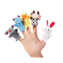 Hot Sale Cotton Baby Toy Cartoon Animal Finger Puppet Plush Dolls(10animals group)Child Baby Favor 10pcs/lot Free Shipping11-028(China)