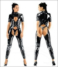 free shipping FAUX LEATHER PVC CATSUIT FANCY DRESS OPEN CROTCH FETISH LEATHER CATSUIT(China)