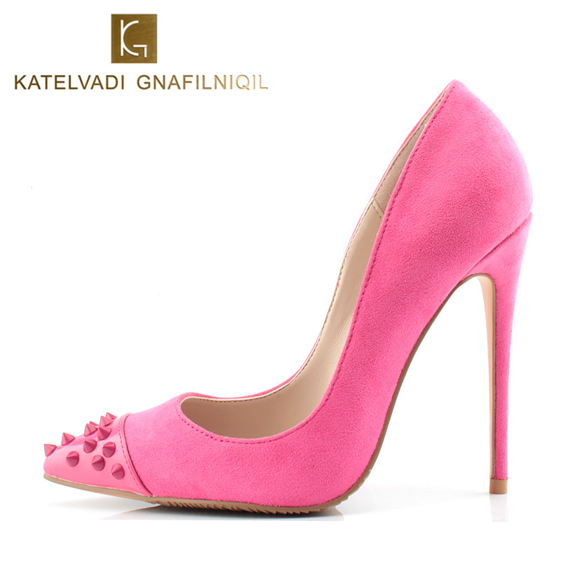 Sexy Women Shoes High Heel Pumps Pink Shoes Women Designer Heel Pointed Stiletto Party Shoes Sexy High Heel Rivets Shoes K-049<br>