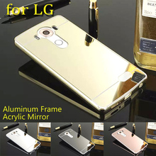 Phone Case For LG G2 G3 X Stylus G4 G5 G6 K10 K7 K8 X180 V10 V20 Plating Aluminum Metal Frame Mirror Acrylic Cover Cases 2017