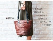 Thai version of the hand-woven women's bag straw bag beach package holiday retro shoulder bag portable bucket bag