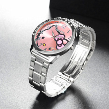 Full Steel Hello Kitty Watch Women Quartz WristWatch Cartoon Cute Watches Children 3D Crystal Fashion Relojes Christmas Gift(China)