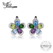 JewelryPalace Flower 4.4ct Multicolor Natural Sky Blue Topaz Amethyst Peridot Chrome Diopside Clip Earrings 925 Sterling Silver