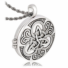 Tone Black Irish Knot Triquetra  Photo Box Pendant Necklace