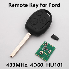 Remote Key 3 Buttons 433MHz with Chip 4D60 for FORD Fusion Mondeo Focus Fiesta C-Max S-Max Car Entry Fob HU101
